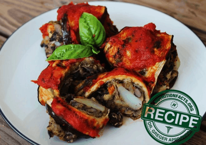 Vegan Eggplant Rollups with Black Bean-Potato Filling - recipe approved by Dr. Michael Greger