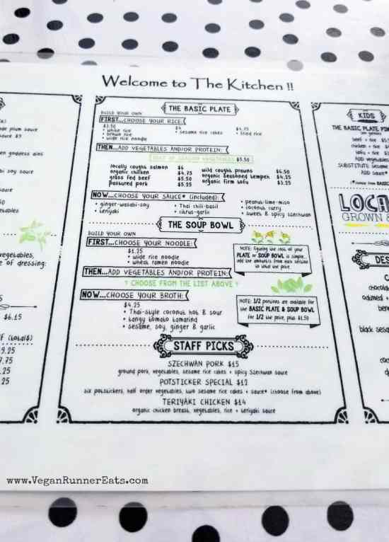 The menu at the Kitchen cafe on Orcas Island