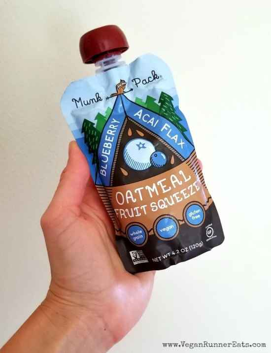 Portable oatmeal fruit squeeze packs by Munk Pack