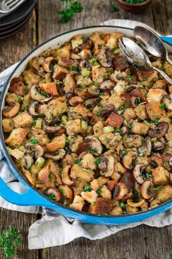 50 best vegan Thanksgiving dishes: Vegan Sourdough Bread Stuffing from Vegan Huggs