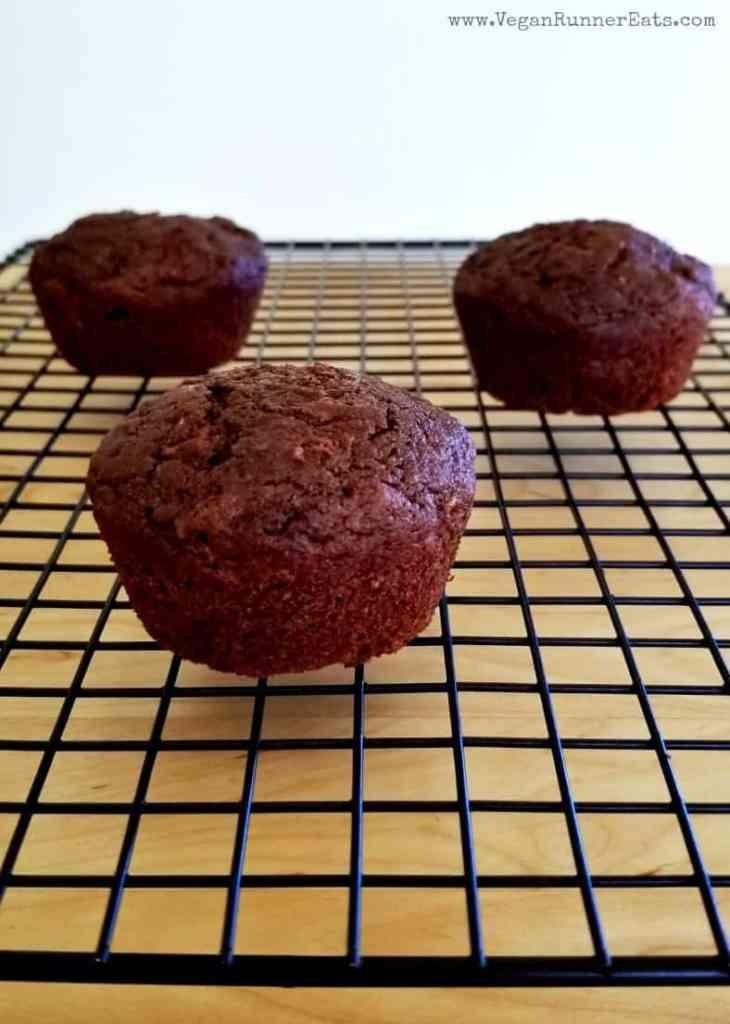Vegan chocolate zucchini muffins - oil-free recipe