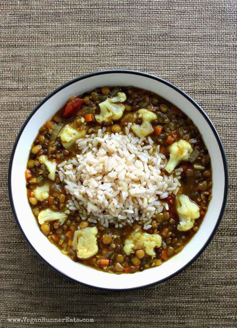 Healthy lentil soup recipe with cauliflower and rice - a vegan lentil soup recipe