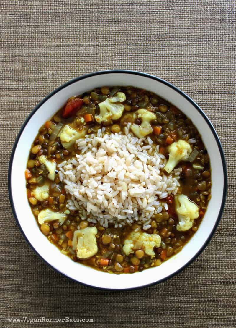 Healthy lentil soup recipe with cauliflower and rice - a vegan lentil soup recipe