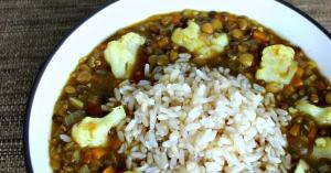 Hearty vegan lentil soup recipe with cauliflower and rice