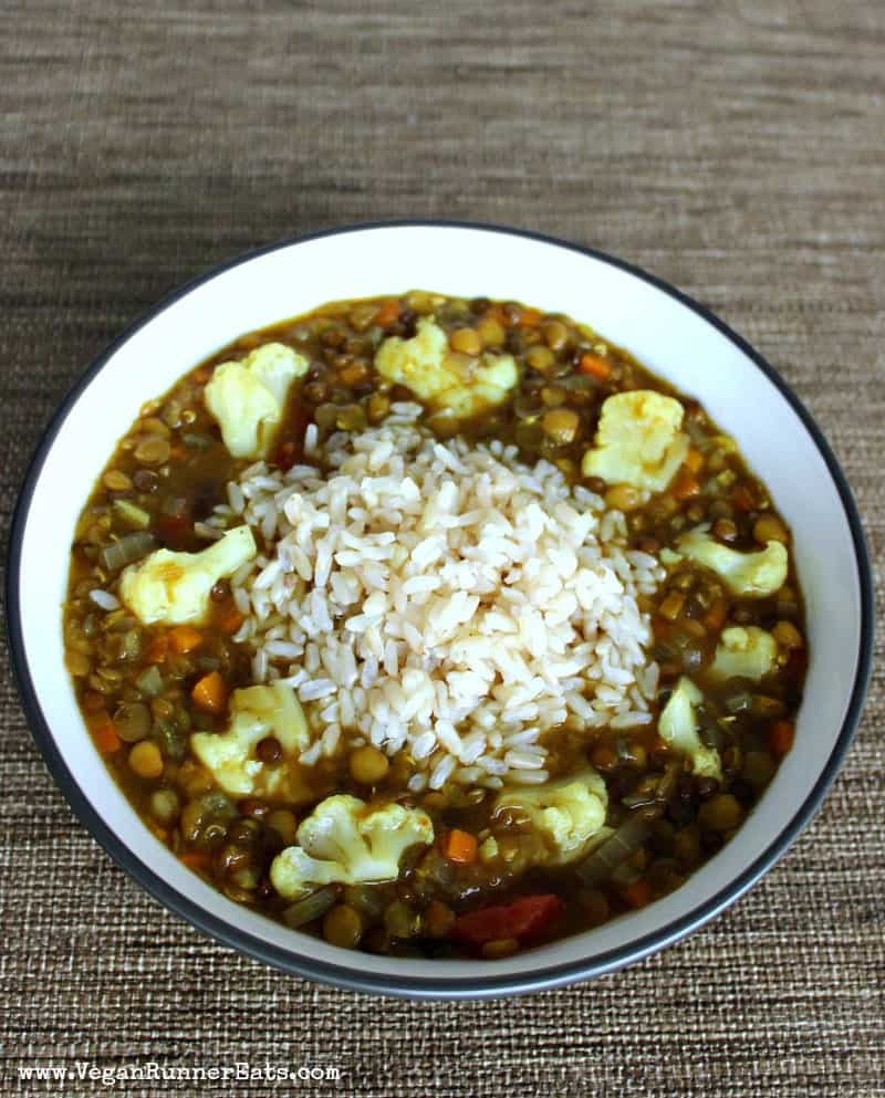Vegan lentil and cauliflower soup recipe with rice