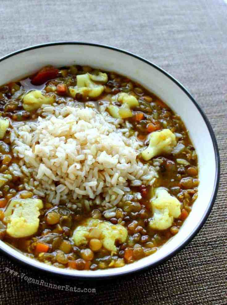 Vegan Lentil Soup with Cauliflower and Rice