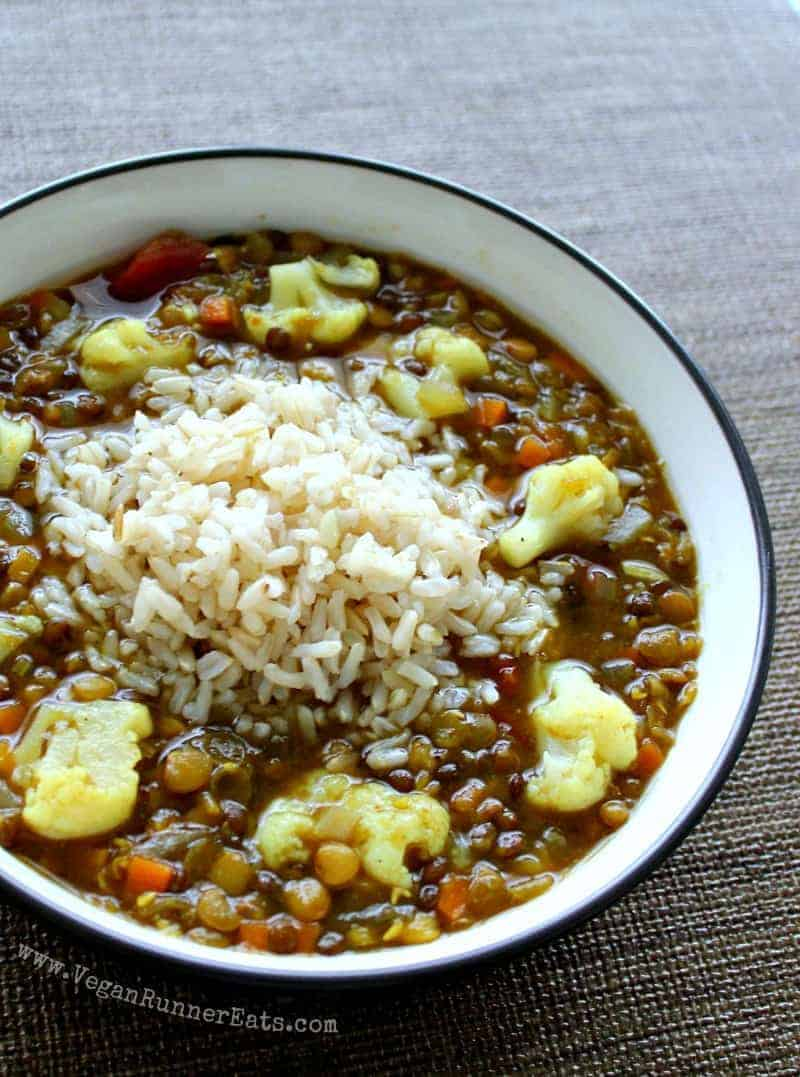 Vegan lentil soup recipe with cauliflower and rice