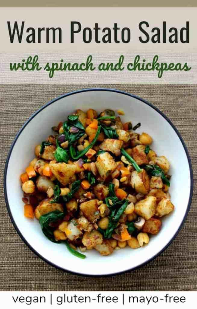 Vegan warm potato salad recipe - vegan, gluten-free, mayo-free potato salad recipe