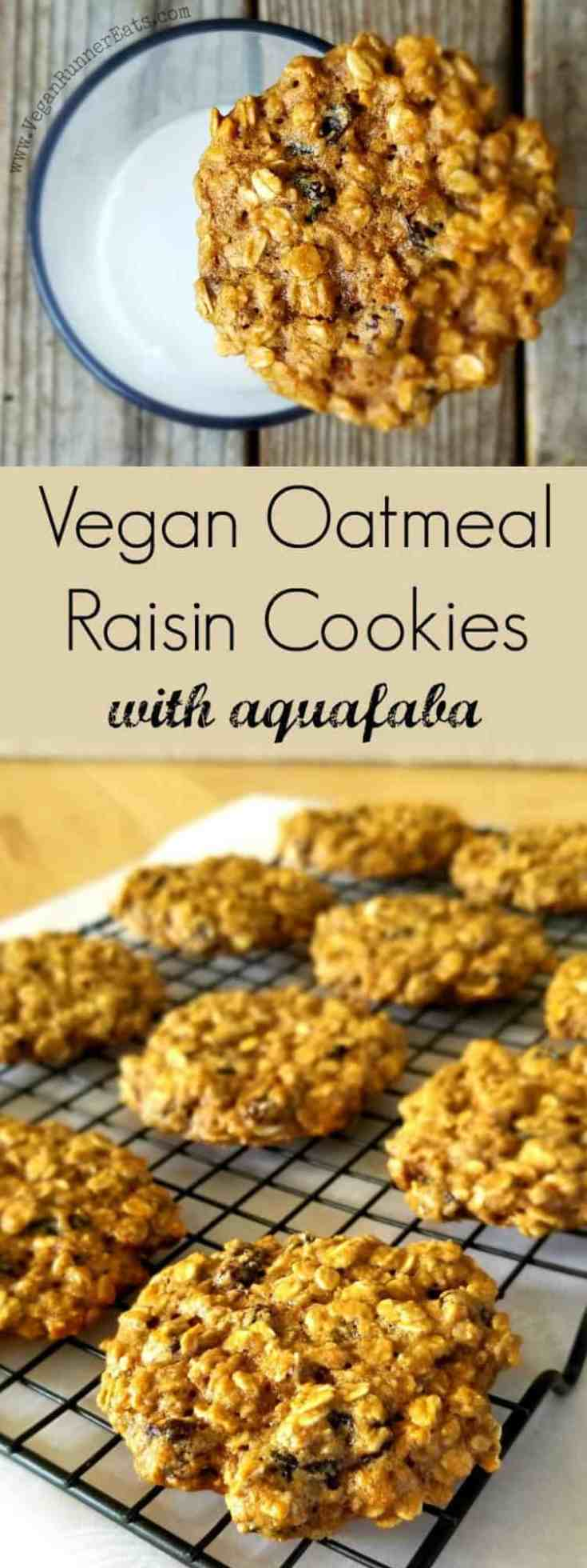 These healthy vegan oatmeal raisin cookies are made with aquafaba, which binds all ingredients without weighing them down. A perfect cookie recipe for dairy-free, egg-free, nut-free diets | vegan oatmeal raisin cookie recipe | healthy oatmeal raisin cookies | healthy oatmeal cookies | vegan cookie recipes | dairy-free cookie recipes | egg-free cookie recipes | vegan recipes | vegan recipe ideas | #veganoatmealraisincookies #oatmealraisincookies #vegancookies #vegancookierecipes #veganrecipeideas