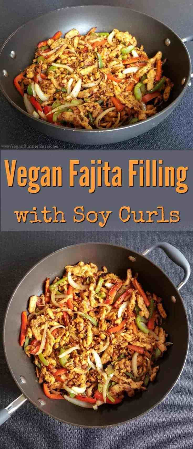 Vegan fajita filling recipe with soy curls, peppers and onions - an easy vegan fajita or taco filling that uses soy curls as the main ingredient. | soy curls fajita filling | soy curls tacos | soy curls burrito | soy curls recipes | vegan fajitas recipe | vegetarian fajitas recipe | vegan taco recipe | easy vegan recipes | vegan taco night | #soycurlsrecipes #soycurls #vegantacos #veganrecipes