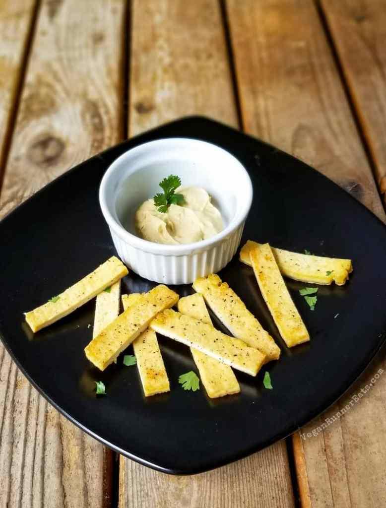 40 vegan snacks for kids: fried tofu fingers with hummus