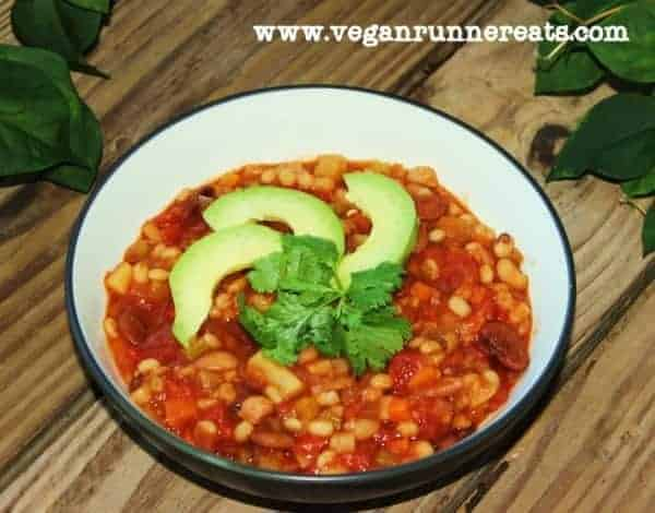 Vegan three bean chili with barley - this healthy vegan chili recipe was inspired by Scott Jurek's chili recipe from his book, Eat and Run. This healthy vegan chili is made with no oil, 100% plant-based and delicious! | vegan chili recipe | vegan chili with barley | healthy vegan chili recipe | oil-free vegan chili recipe | wfpb chili recipe | #veganchili #veganchilirecipe #wfpbchili #vegandinner #vegandinnerrecipes #wfpbrecipes