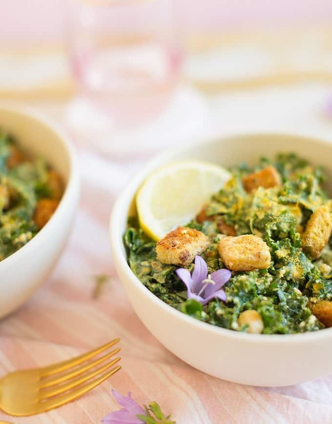 Vegan Kale Salad with Gluten-free Croutons