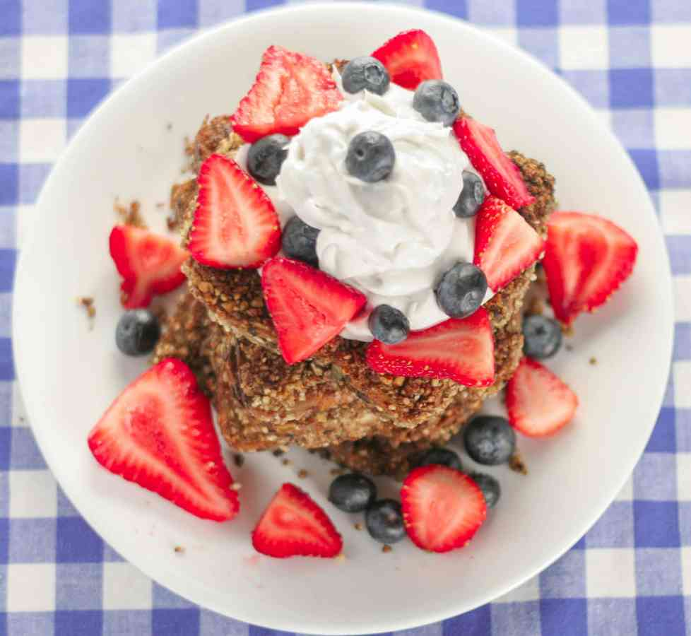 Pecan-Crusted Red, White and Blue French Toast