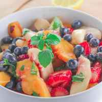Minted Summer Fruit Salad with Balsamic Maple Dressing
