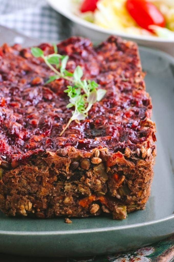 Savory Vegan Lentil Loaf with Maple Balsamic Glaze