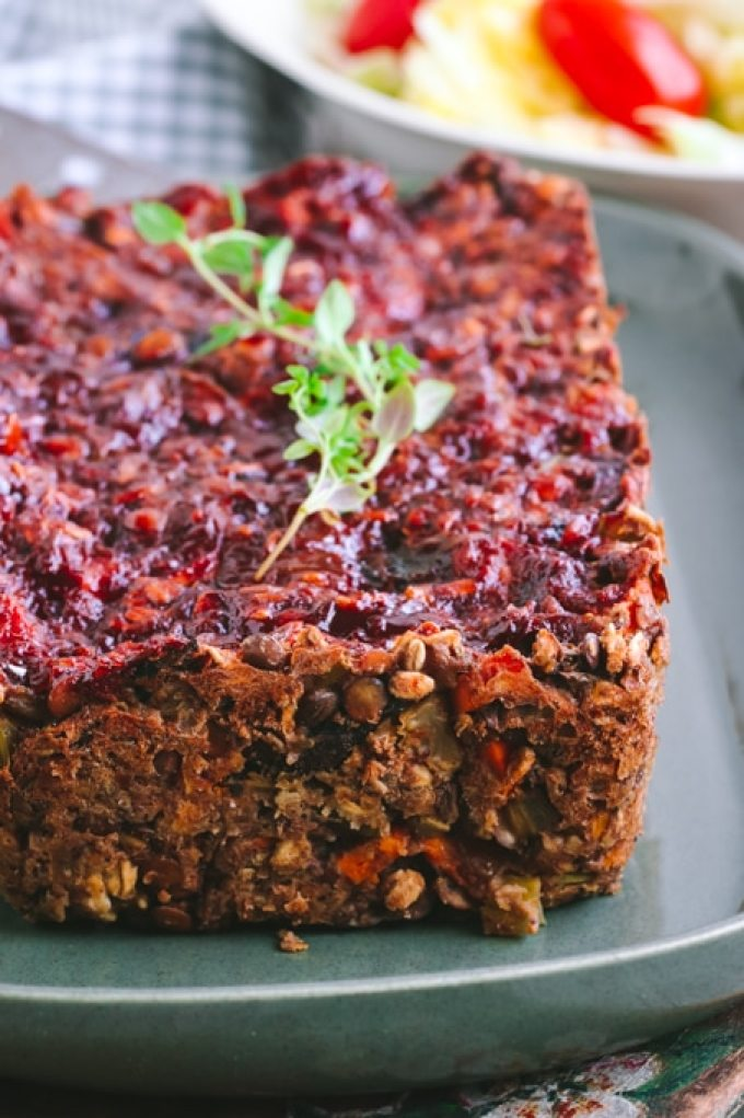 Savory Vegan Lentil Loaf with Maple Balsamic Glaze