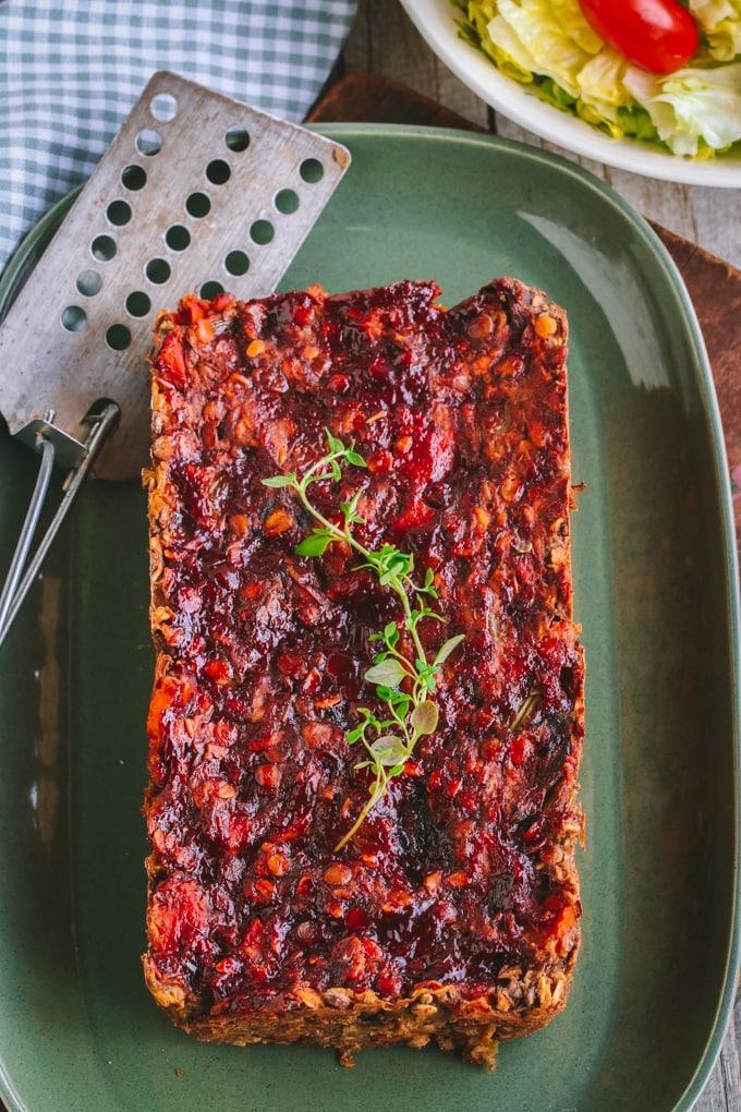 Overhead picture of Vegan Lentil Loaf on green plate
