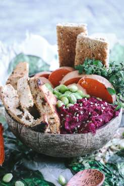 Picture of Roasted Beet Hummus Bowl with Tofu and Sweet Potatoes