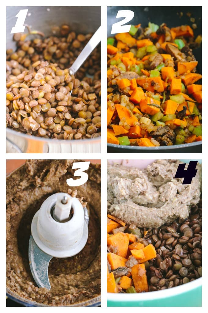 Steps 1 -4 Savory Vegan Lentil Loaf
