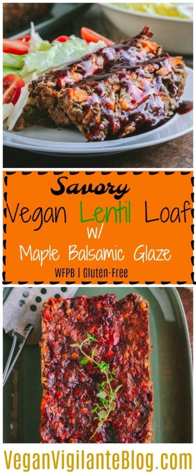 Pinterest Pin Savory Vegan Lentil Loaf