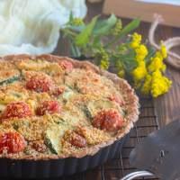 Vegan Tomato Zucchini Tart w/ Creamy Cashew Cheese
