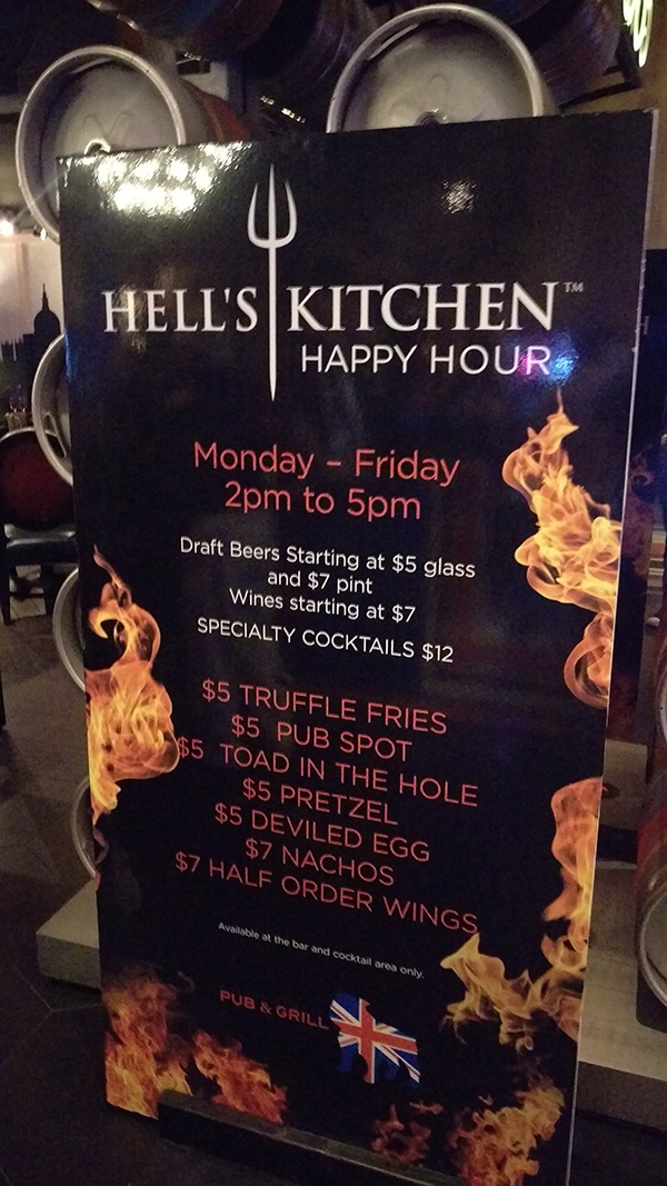 hells kitchen happy hour menu - Hells Kitchen Menu