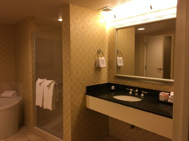 The view of one side of the Resort room bathroom