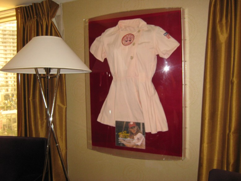 A different uniform in this room, that of the Rockford Peaches