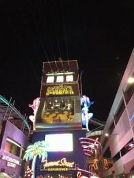 The SlotZilla launch tower at night