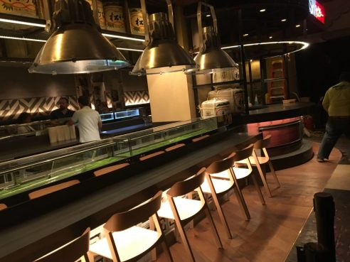 The sushi bar area, waiting to be filled with raw fish.