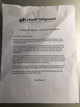 Notice about possible noise during renovation work.