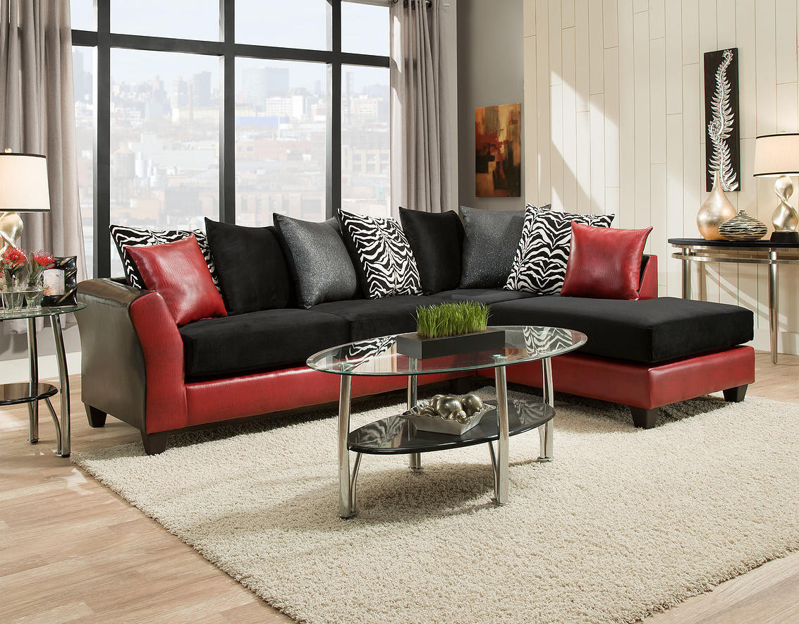 Red Black Sectional Sofa Red Fabric Black Vinyl Modern Sectional Sofa W Wood Legs  TheSofa