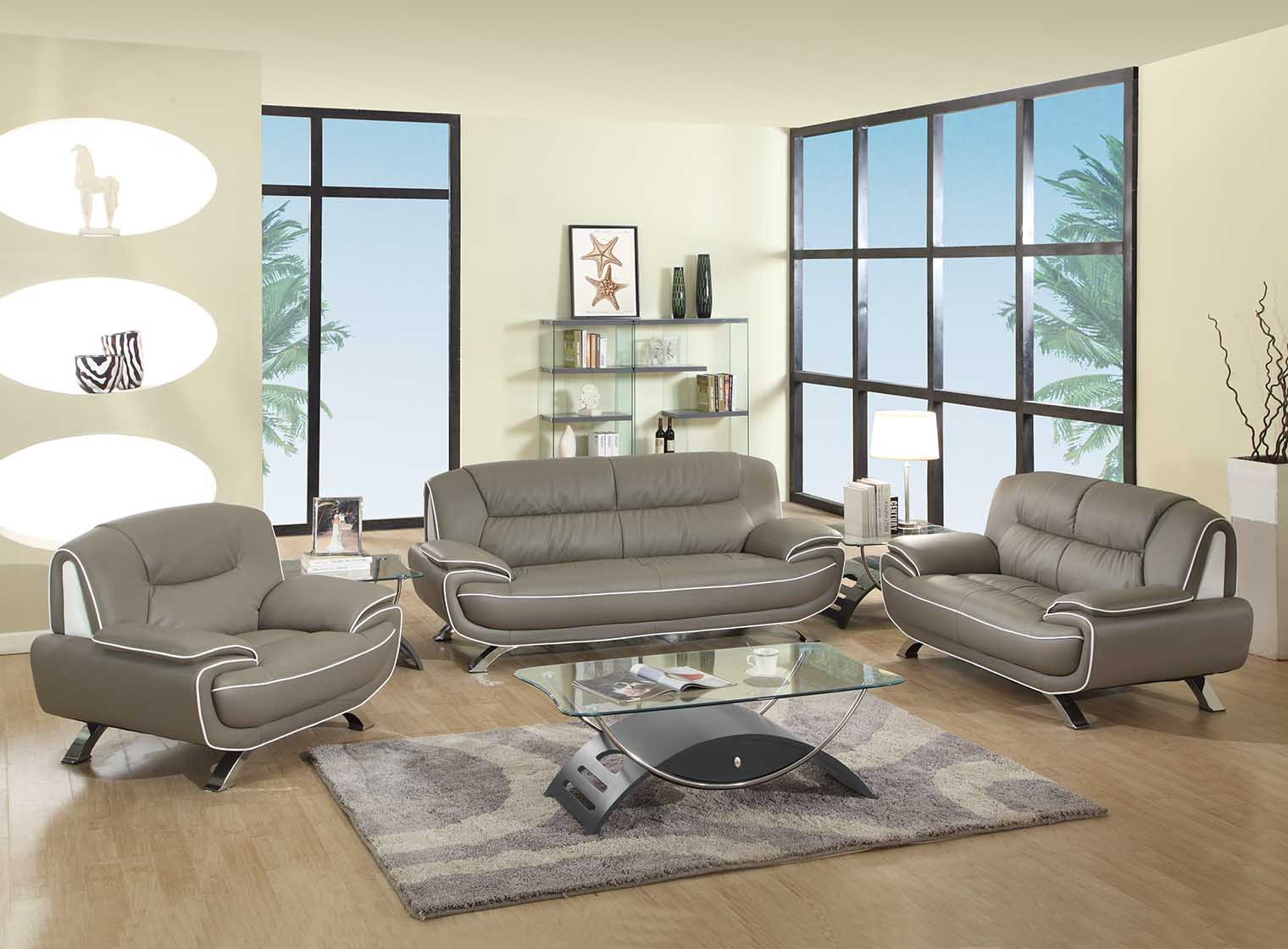 With a good deal on furniture, you not only stand to save m. Amalfi Grey and White Leather Living Room | Las Vegas ...