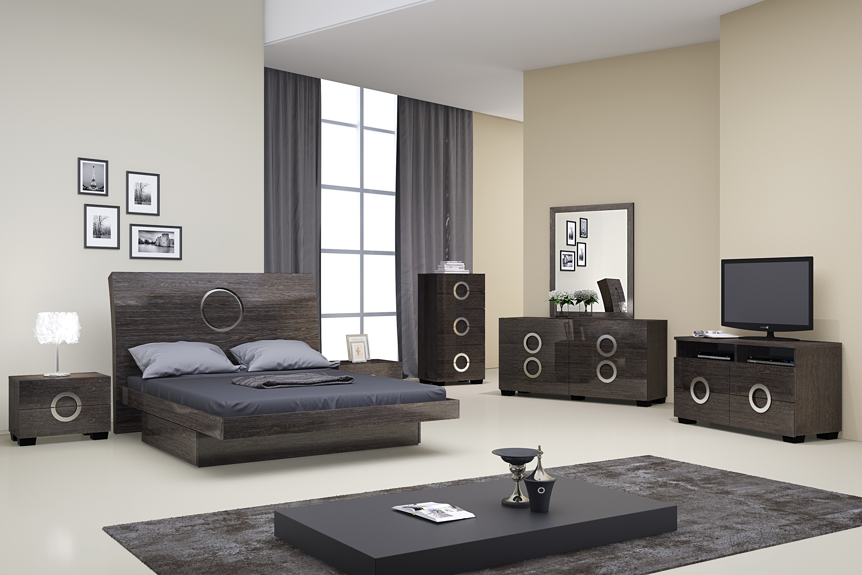 Monte Carlo Grey Lacquer Bedroom Set