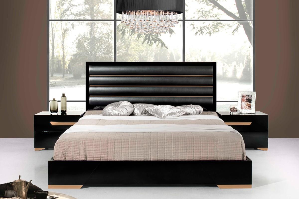 Domus Romeo Italian Black Amp Rosegold Bed