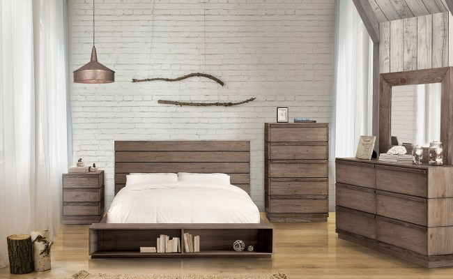Coimbra Rustic Natural Tone Finish Wood Bedroom Collection