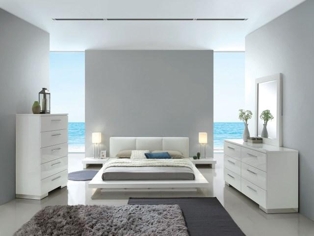 Christie White Leather Headboard Bedroom Set | Las Vegas ...