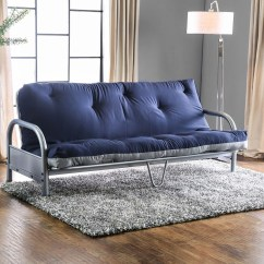 Gray Sofa Navy Chairs Alaina Bed Queen Sleeper Aksel Grey Cotton And Polyester Futon Las Vegas