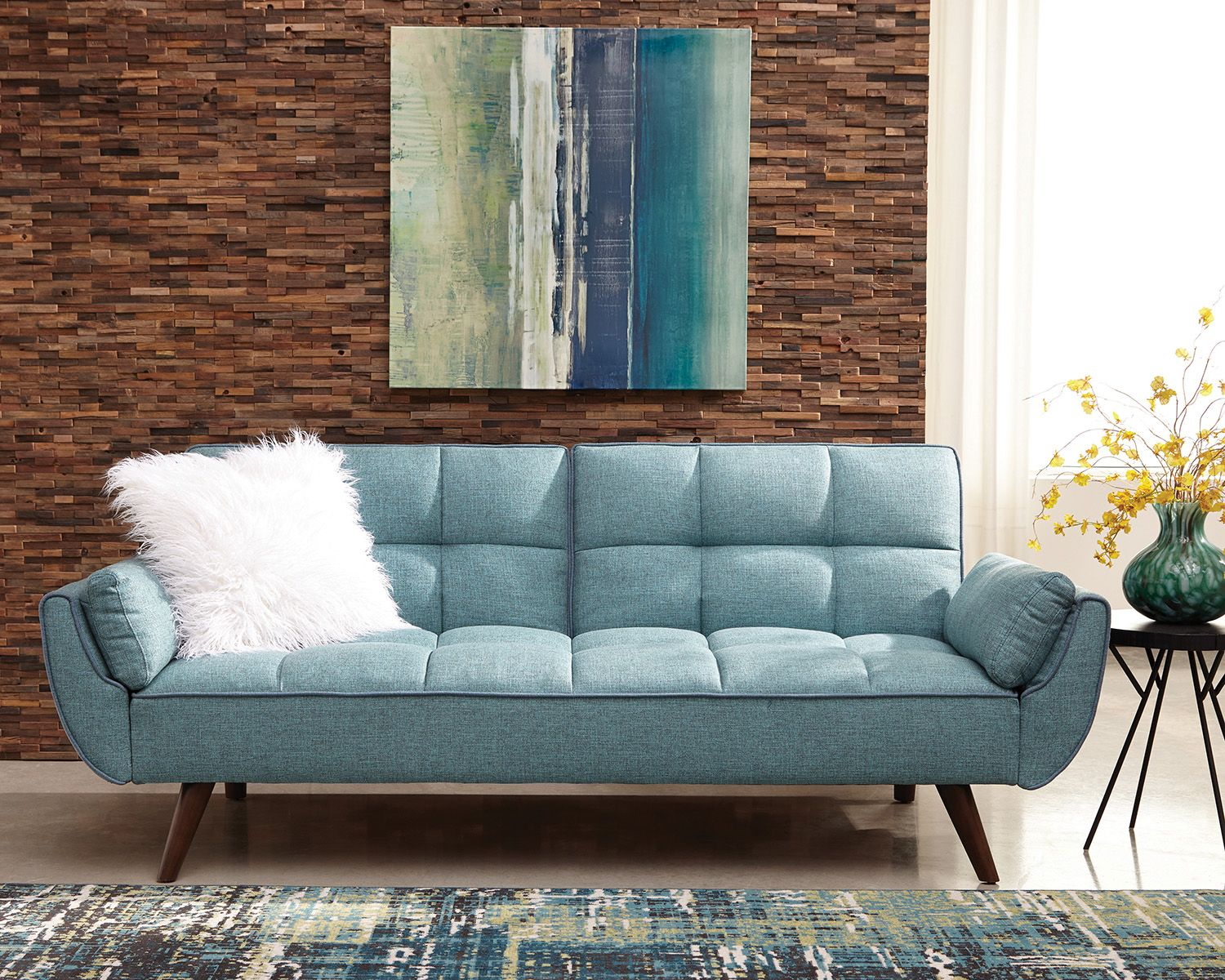 blue sofa white piping open cheyenne turquoise woven fabric bed las vegas