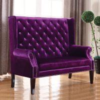 Selena Purple Velvet Accent Settee   Las Vegas Furniture ...