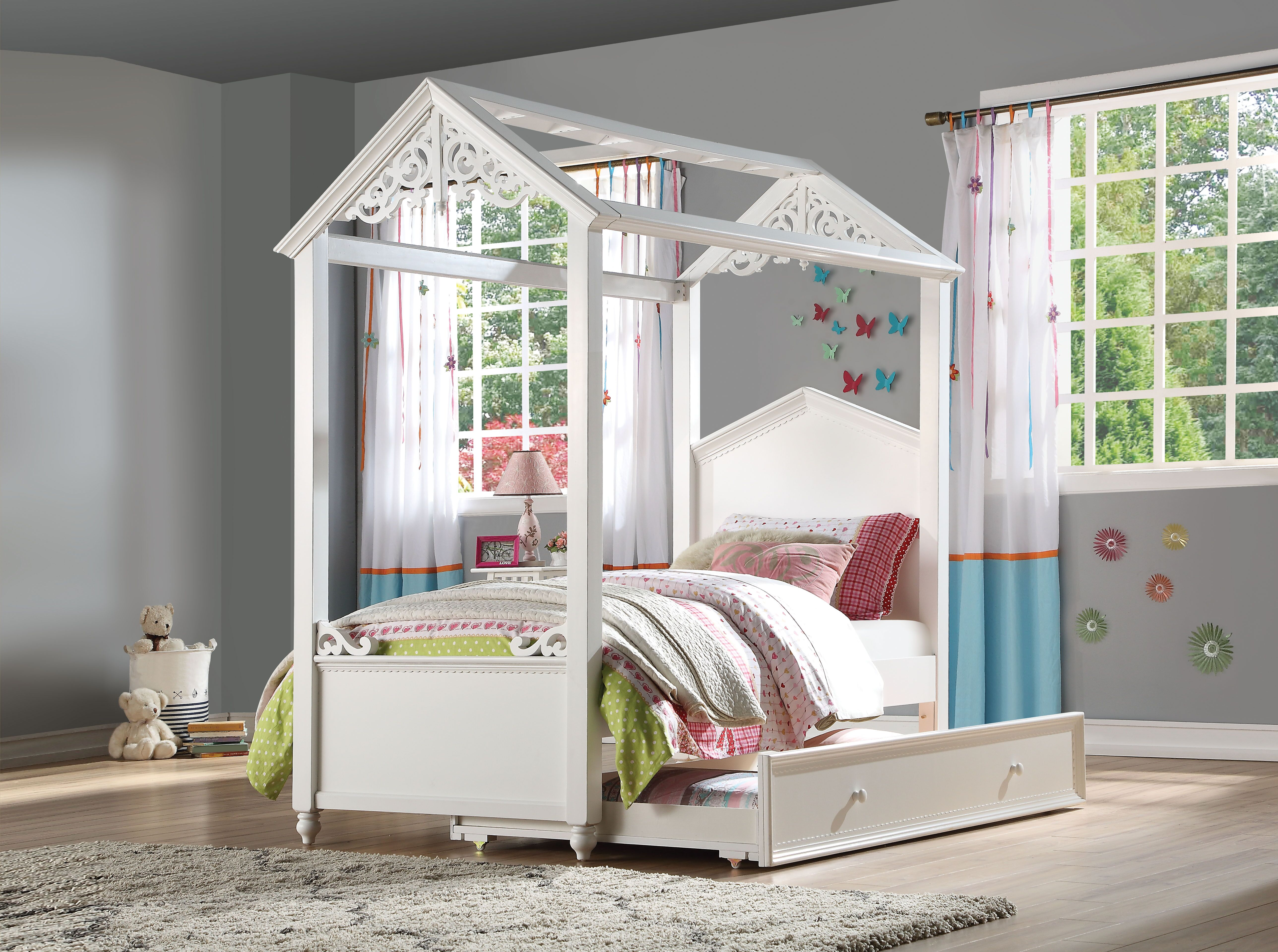Rapunzel White Finish Twin Bed With Trundle Collection Las Vegas Furniture Store Modern Home Furniture Cornerstone Furniture