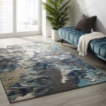 Entourage Foliage Contemporary Modern Abstract Area Rug In Blue Tan Gray