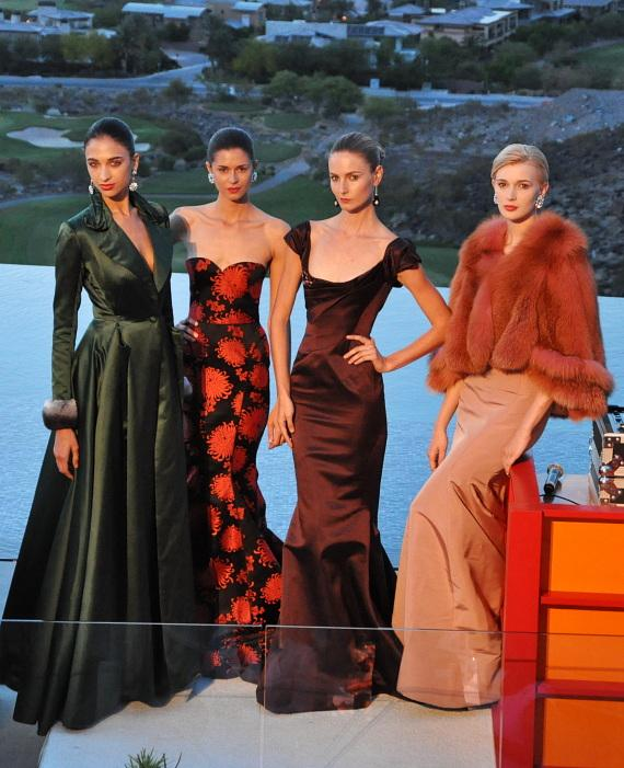 Models donned gowns from Zac Posen's Spring/Fall 2012 Collection available at Neiman Marcus
