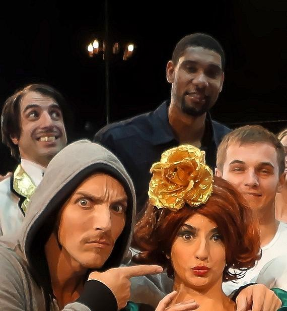 Tim Duncan with cast of ABSINTHE