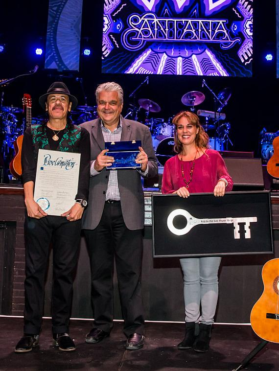 Carlos Santana, Clark County Commissioner Steve Sisolak and Roxana Drexel, Hermes Music Foundation