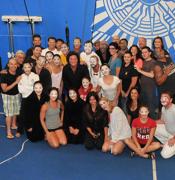 """Dot Jones with the cast of  """"O"""" by Cirque du Soleil at Bellagio Hotel & Casino"""