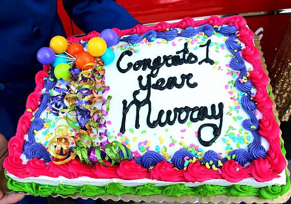 Murray's cake celebrating 1 Year Anniversary at The Laugh Factory in Tropicana Las Vegas