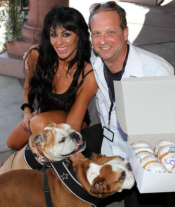 Jennifer Romas with Mike Shevlin and puppies