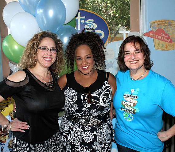 Balloon With A Twist owner Michele Rothstein, singer Michelle Johnson and Publicist Ruth Furman at Ben & Jerry's